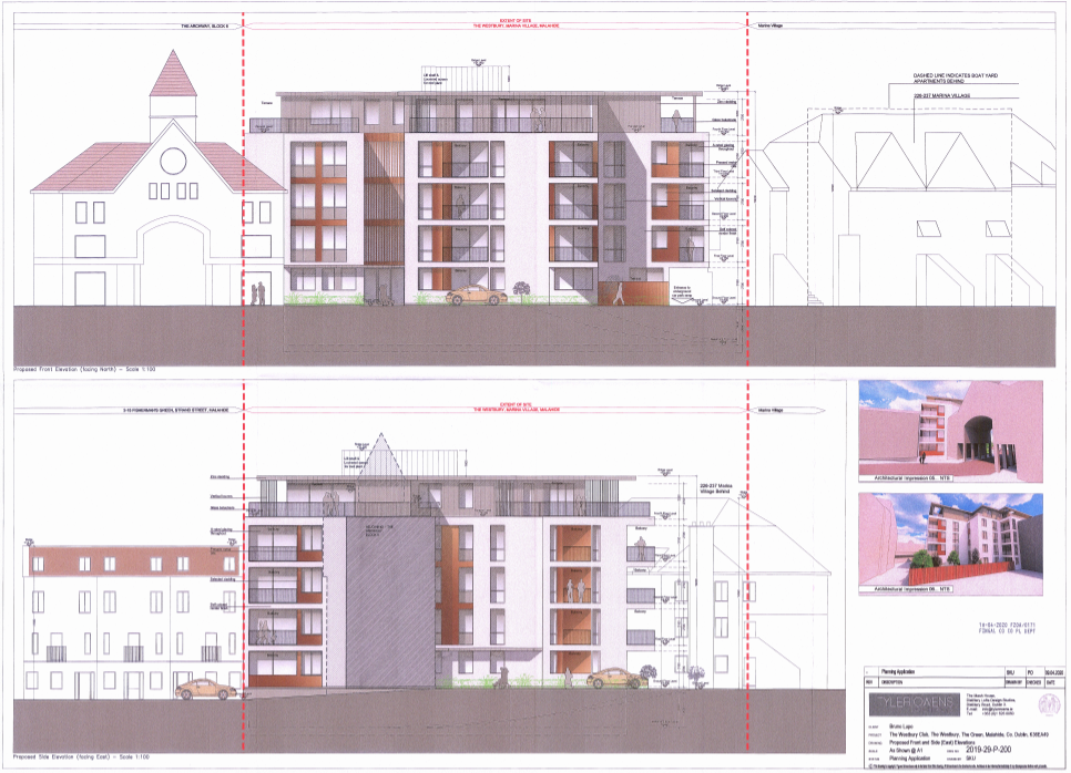 00659317 Westbury Club The Green Malahide - planning application document - Front and Side - East Elevation
